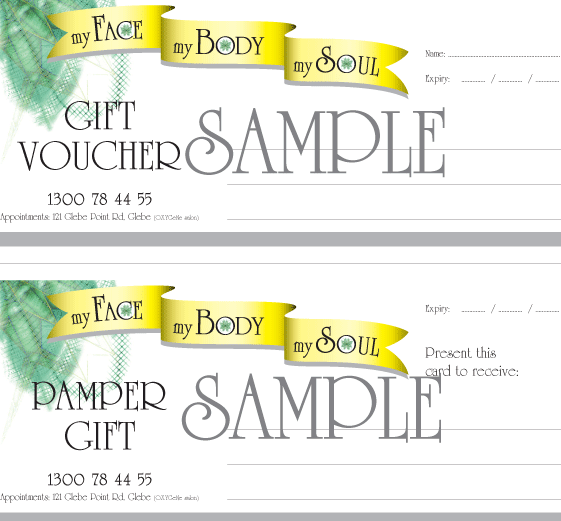 Gift vouchers My Face My Body My Soul – Sample Vouchers